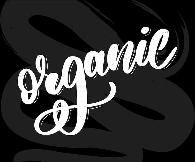 Kolekcja kaligrafii napis green healthy organic natural eco bio food products