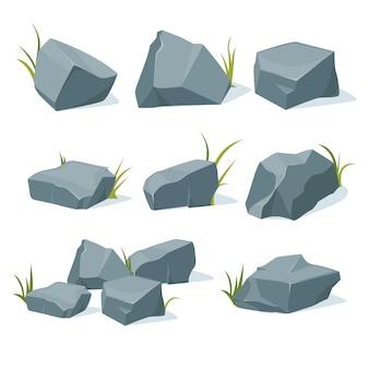 Kolekcja kamieni górskich o różnych kształtach.