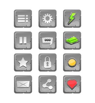 Kolekcja kamiennych ikon dla elementów zasobów gui