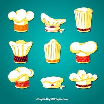 Kolekcja kapeluszy kucharza z płaskim wzorem