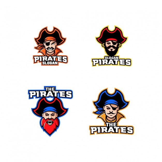 Kolekcja kapitana pirata postać logo ikona kreskówka projekt