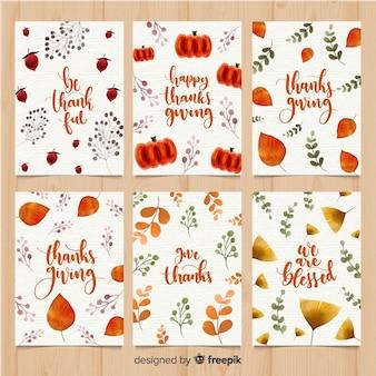 Kolekcja kart akwarela dziękczynienia dzień