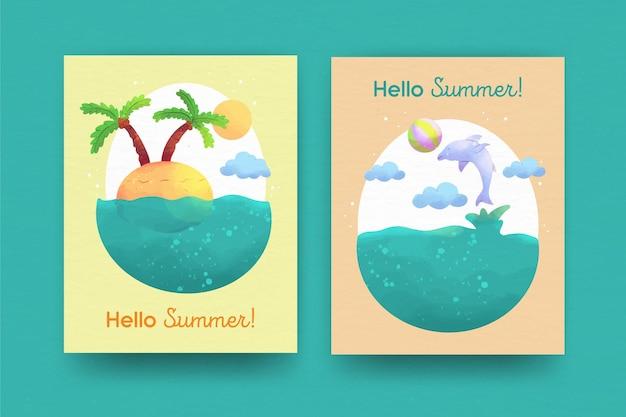 Kolekcja kart akwarela lato