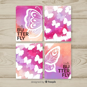 Kolekcja kart akwarela motyl