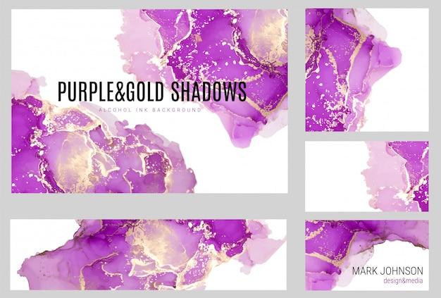 Kolekcja kart akwarela różowe i złote odcienie, mokry płyn, ręcznie rysowane akwarela tekstura wektor