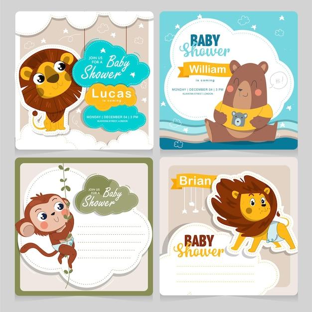 Kolekcja kart baby shower z uroczymi zwierzątkami darmowych wektorów