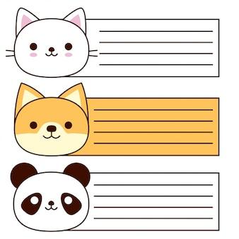 Kolekcja kart cute zwierząt