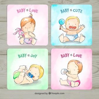 Kolekcja kart dla dzieci w stylu przypominającym akwarele