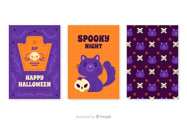 Kolekcja kart halloween w ręku rysowane