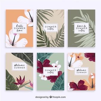 Kolekcja kart lato z roślinnością w stylu vintage