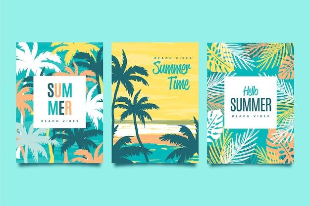 Kolekcja kart letnich płaska konstrukcja