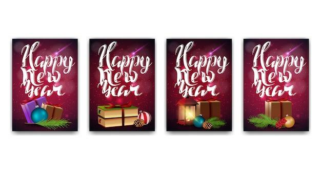 Kolekcja kart nowego roku z nowoczesnym napisem