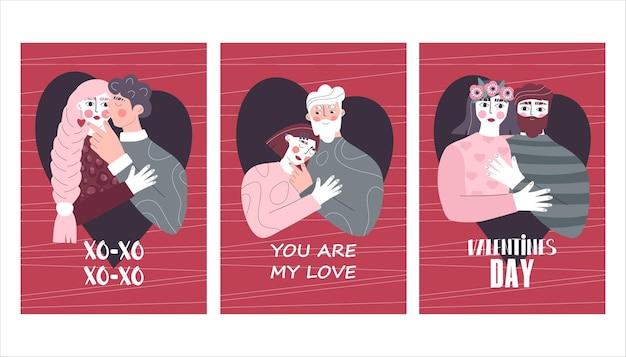 Kolekcja kart okolicznościowych na walentynki z zakochanymi parami.