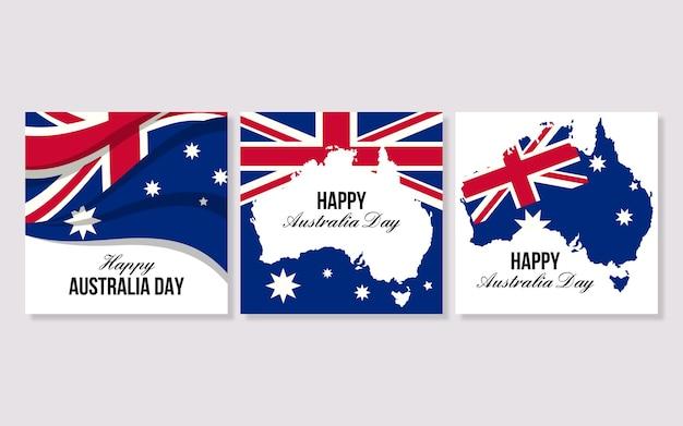 Kolekcja kart okolicznościowych wydarzenia dzień australii