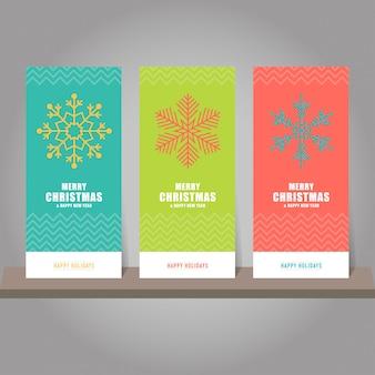 Kolekcja kart podarunkowych boże narodzenie i nowy rok, znaczniki. szablony kart z symbolami płatków śniegu.