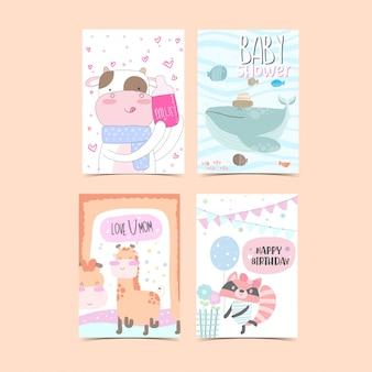 Kolekcja kart szablonów do baby shower