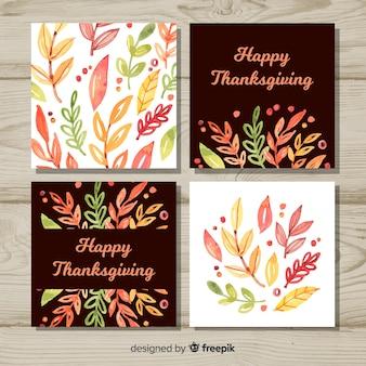 Kolekcja kart szczęśliwy dzień dziękczynienia w stylu przypominającym akwarele