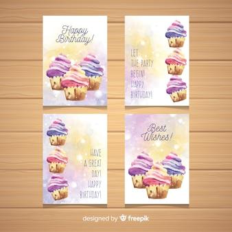 Kolekcja kart urodzinowych akwarela babeczki