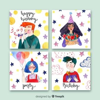 Kolekcja kart urodzinowych akwarela