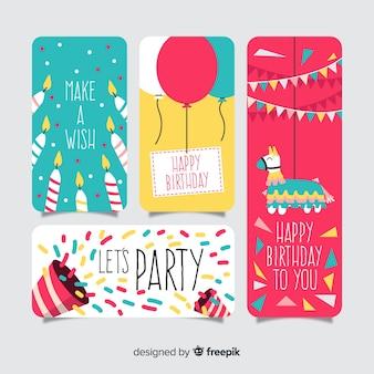 Kolekcja kart urodzinowych płaska konstrukcja