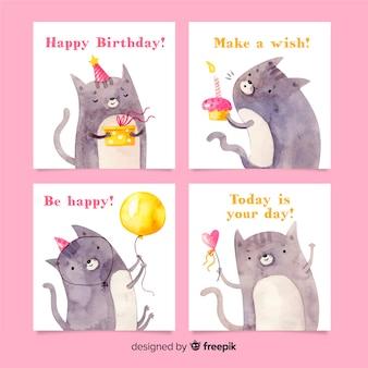 Kolekcja kart urodzinowych w stylu akwareli