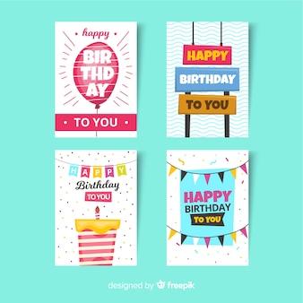 Kolekcja kart urodzinowych w stylu płaskiej
