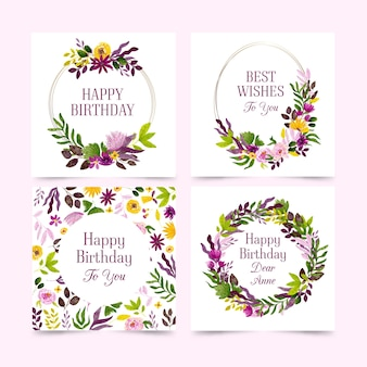 Kolekcja kart urodzinowych z paczką kwiatów