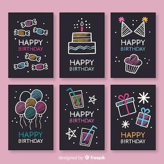 Kolekcja kart urodziny blackboard