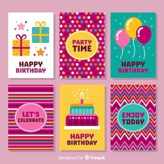 Kolekcja kart urodziny płaskie