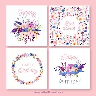 Kolekcja kart urodziny w stylu przypominającym akwarele