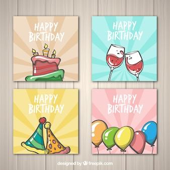 Kolekcja kart urodziny w stylu wyciągnąć rękę
