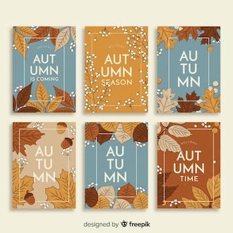 Kolekcja kart vintage jesień