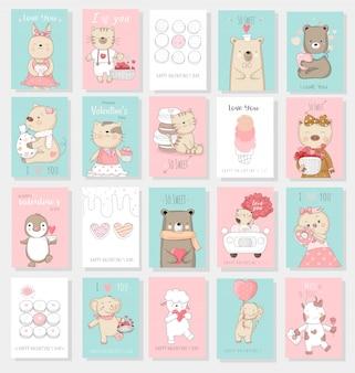 Kolekcja kart walentynki