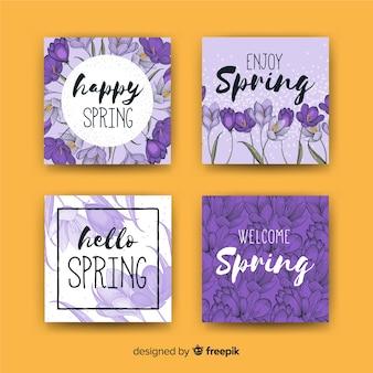 Kolekcja kart wiosennych violets