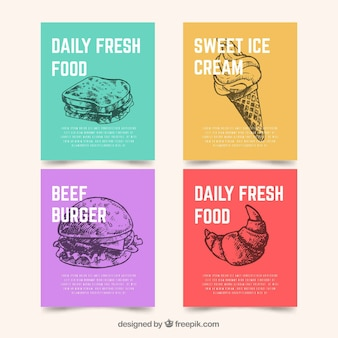 Kolekcja kart z fast food