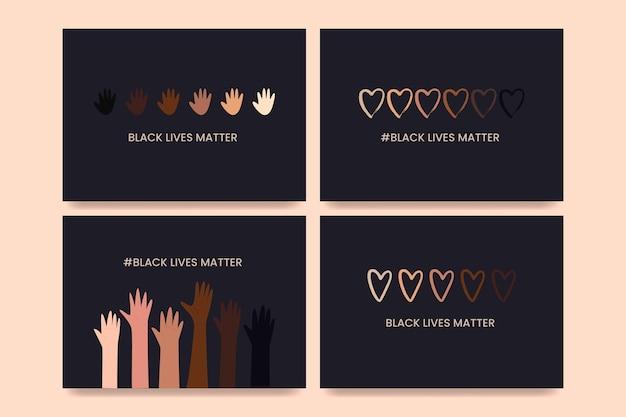 Kolekcja kart z hasłem black lives matter. banery antyrasizmu i równości rasowej i tolerancji, plakaty. ilustracja wektorowa, szablon mediów społecznościowych na ciemnym tle.