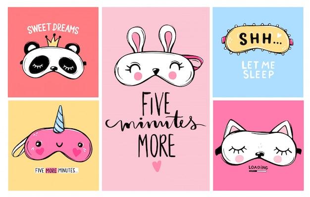 Kolekcja kart z maskami snu i cytatami. klasyczna opaska na oczy iw kształcie zwierzątka - jednorożec, kot, królik, panda. ładna kolekcja masek na oczy. styl kreskówki.