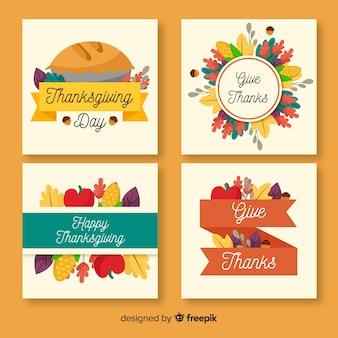 Kolekcja kart z okazji święta dziękczynienia w płaskiej konstrukcji