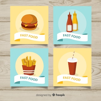 Kolekcja kart z płaskim żywności