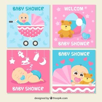 Kolekcja kart z pozdrowieniami dla baby shower