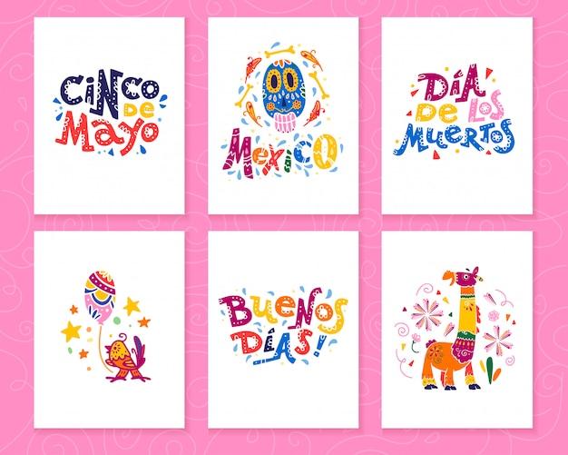 Kolekcja kart z tradycyjną dekoracją meksyk impreza, karnawał, uroczystości, impreza fiesta w stylu płaskiej ręcznie rysowane. gratulacje dla tekstu, czaszki, elementów kwiatowych, płatków, zwierząt, kaktusów.