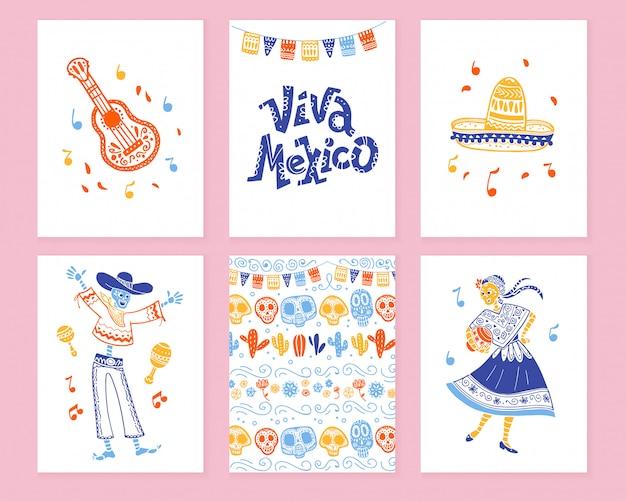 Kolekcja kart z tradycyjną dekoracją na święto zmarłych w meksyku, celebracja dia de los muertos w stylu płaskiej ręcznie rysowane. gratulacje z napisami, gitara, sombrero, szkielet, wzór