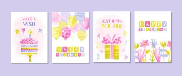Kolekcja kart z życzeniami urodzinowymi akwarela