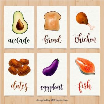 Kolekcja kart z żywności ekologicznej