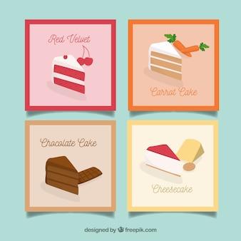 Kolekcja kart z żywnością o płaskiej konstrukcji