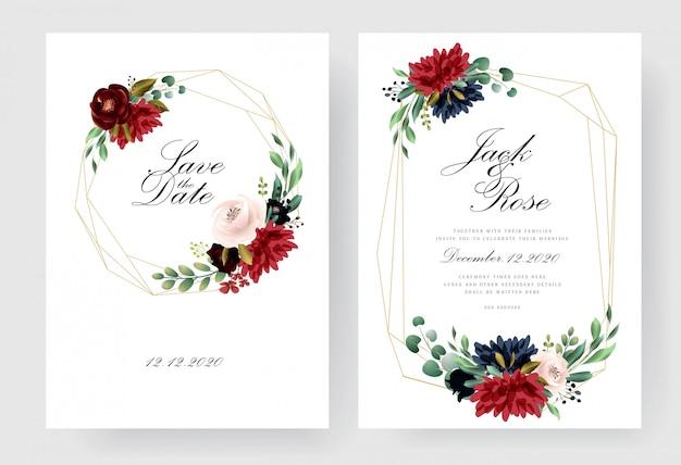 Kolekcja kart zaproszenie na ślub burgundii