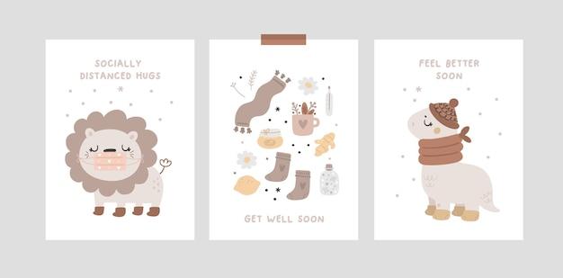 Kolekcja kart ze zwierzątkami i cytatami życzeń wracaj do zdrowia wkrótce. uściski z dystansem społecznym