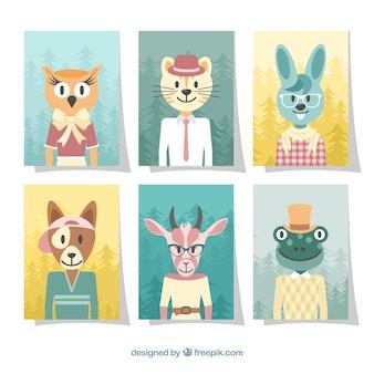 Kolekcja kart ze zwierzętami ubranymi w ubrania