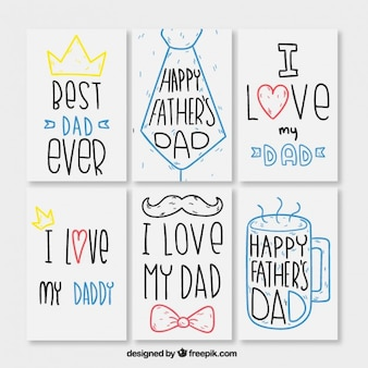 Kolekcja karta dni urokliwej ręcznie rysowane ojca