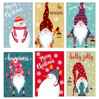 Kolekcja kartek świątecznych z bałwanem i gnomami. etykiety naklejki